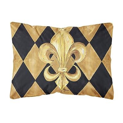 Caroline's Treasures 8125PW1216 Black and Gold Fleur de lis New Orleans Canvas Fabric Decorative Pillow, 12H x16W, Multicolor : Garden & Outdoor