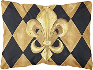 Caroline's Treasures 8125PW1216 Black and Gold Fleur de lis New Orleans Canvas Fabric Decorative Pillow, 12H x16W, Multicolor