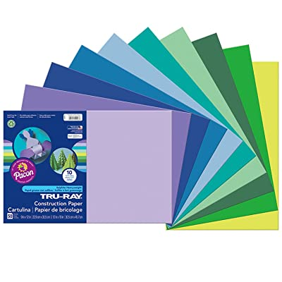 "Pacon Tru-Ray Construction Paper, Cool Assorted, 12"" x 18"", 50 Sheets Per Pack, 3 Packs: Industrial & Scientific"