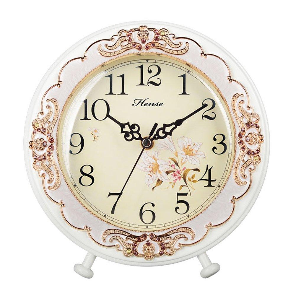 HENSE Old-school Round European Garden Living Room Decorative Desk Clocks Silent Non ticking Sweep Second Wooden Table Clock HD10 (White)