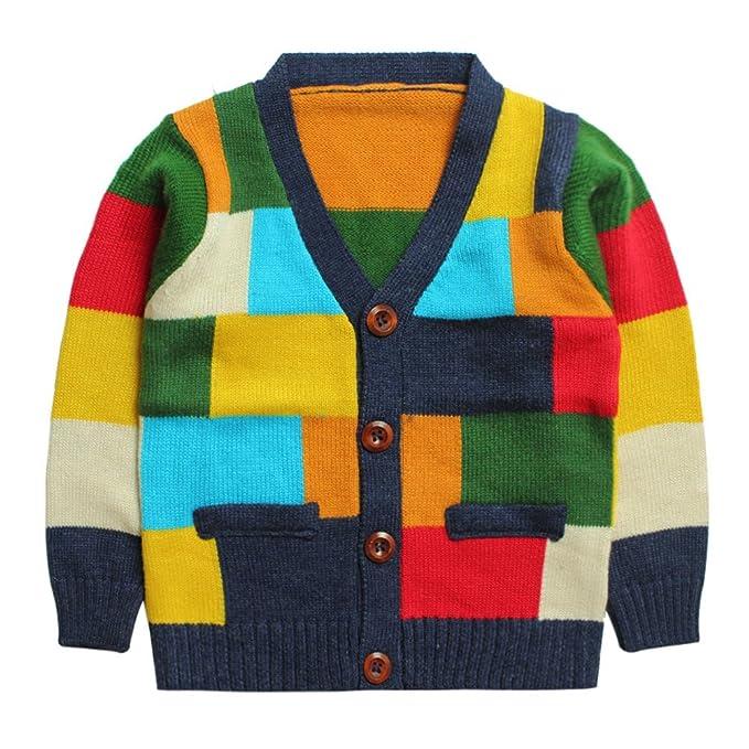 Amazon.com: eTree Boys Colored Entramado chaqueta de punto ...