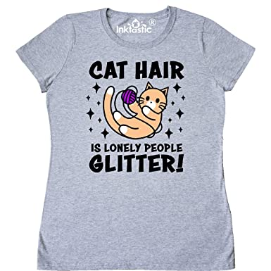 c45f374416 inktastic - Cat Hair is Lonely Women's T-Shirt Small Athletic Heather 31287
