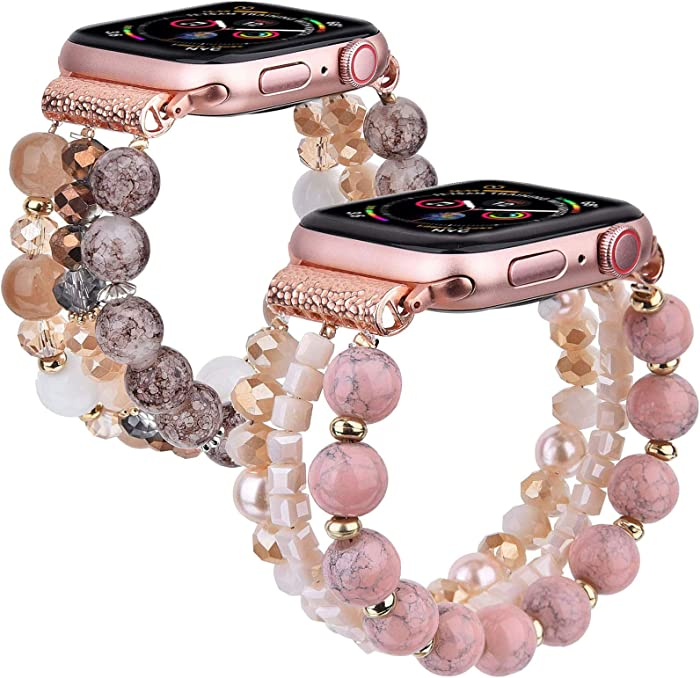 CAGOS Beadeds Bracelet Compatible with Apple Watch Bands 40mm/38mm Girl, Cute Handmade Fashion Elastic Beaded Strap Compatible for Apple iWatch Series 5/4/3/2/1 (Light Pink/Amber Brown, 38mm/40mm)