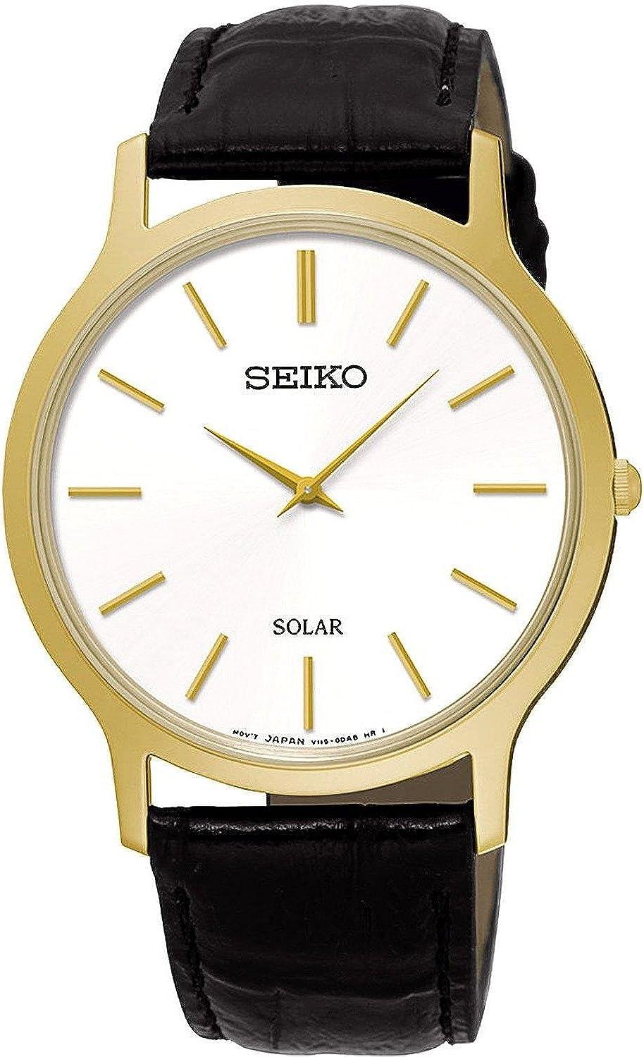 Amazon.com: SEIKO SUP872P1,Men's Solar Quartz,Gold tone Stainless steel  Case,Leather Strap,30m WR,SUP872: Seiko: Watches
