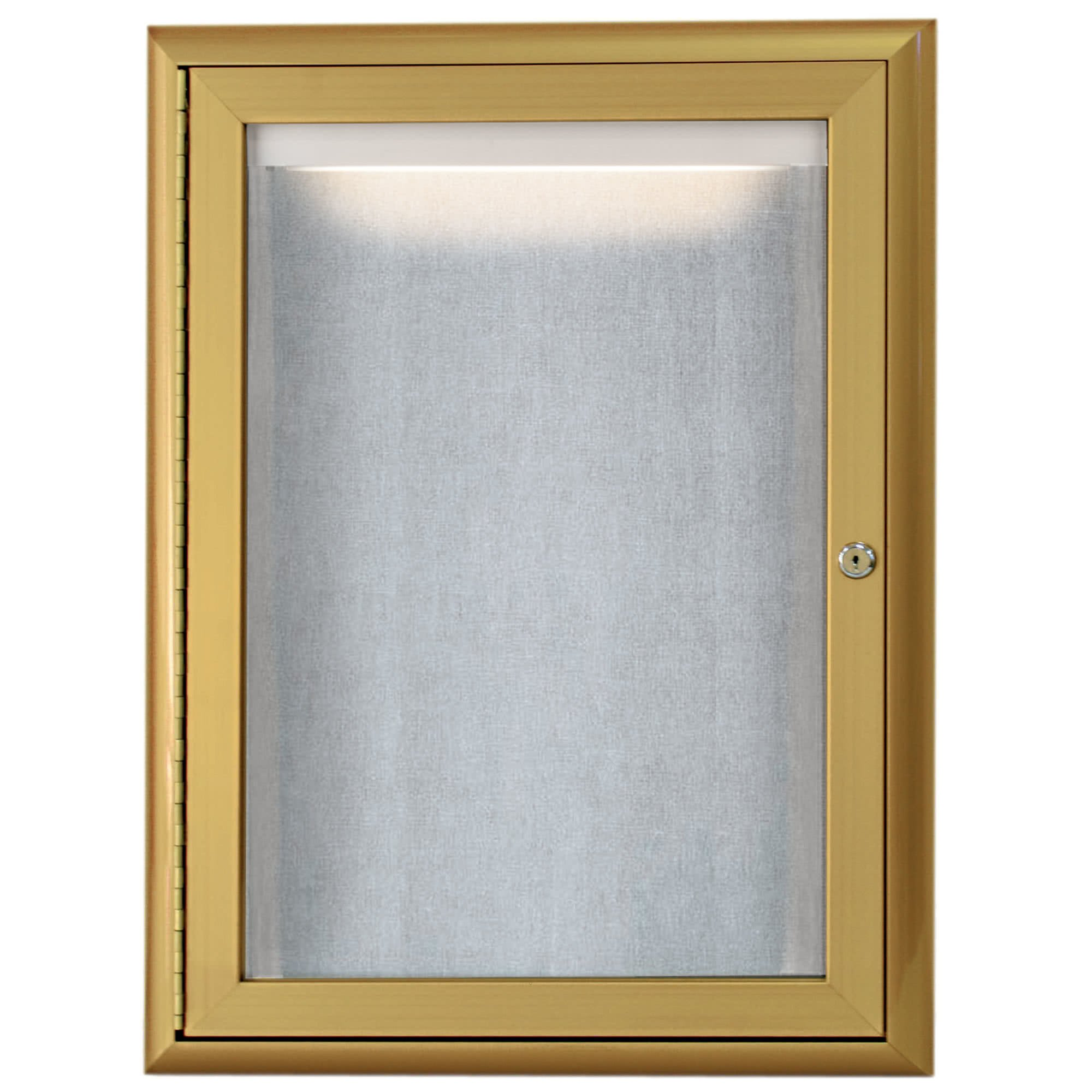 TableTop King LOWFC2418G 24'' x 18'' Gold Enclosed Aluminum Indoor / Outdoor Bulletin Board with Waterfall Style Frame and LED Lighting