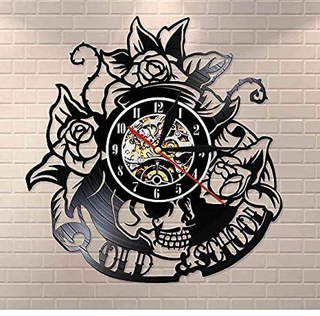 CHANGWW Tatuaje con Rosa Disco de Vinilo Reloj de Pared cráneo ...