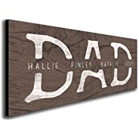 """DAD & Children - Personalized Father's Day Sign (6.5""""x18"""" Block Mount)"""