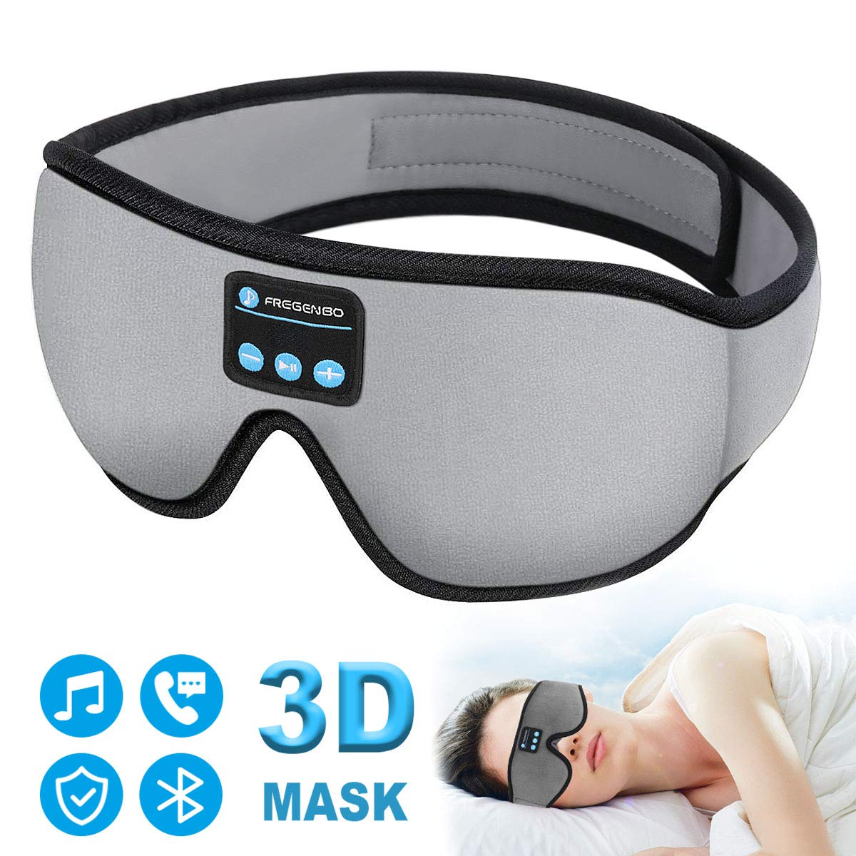 Sleep Headphones Bluetooth Eye Mask, 20-28 inches Adjustable FREGENBO Music 3D Sleep Mask 2020 Upgraded, Wireless Sleeping Headphones for Side Sleepers, HandsFree for Meditation Insomnia Airplane