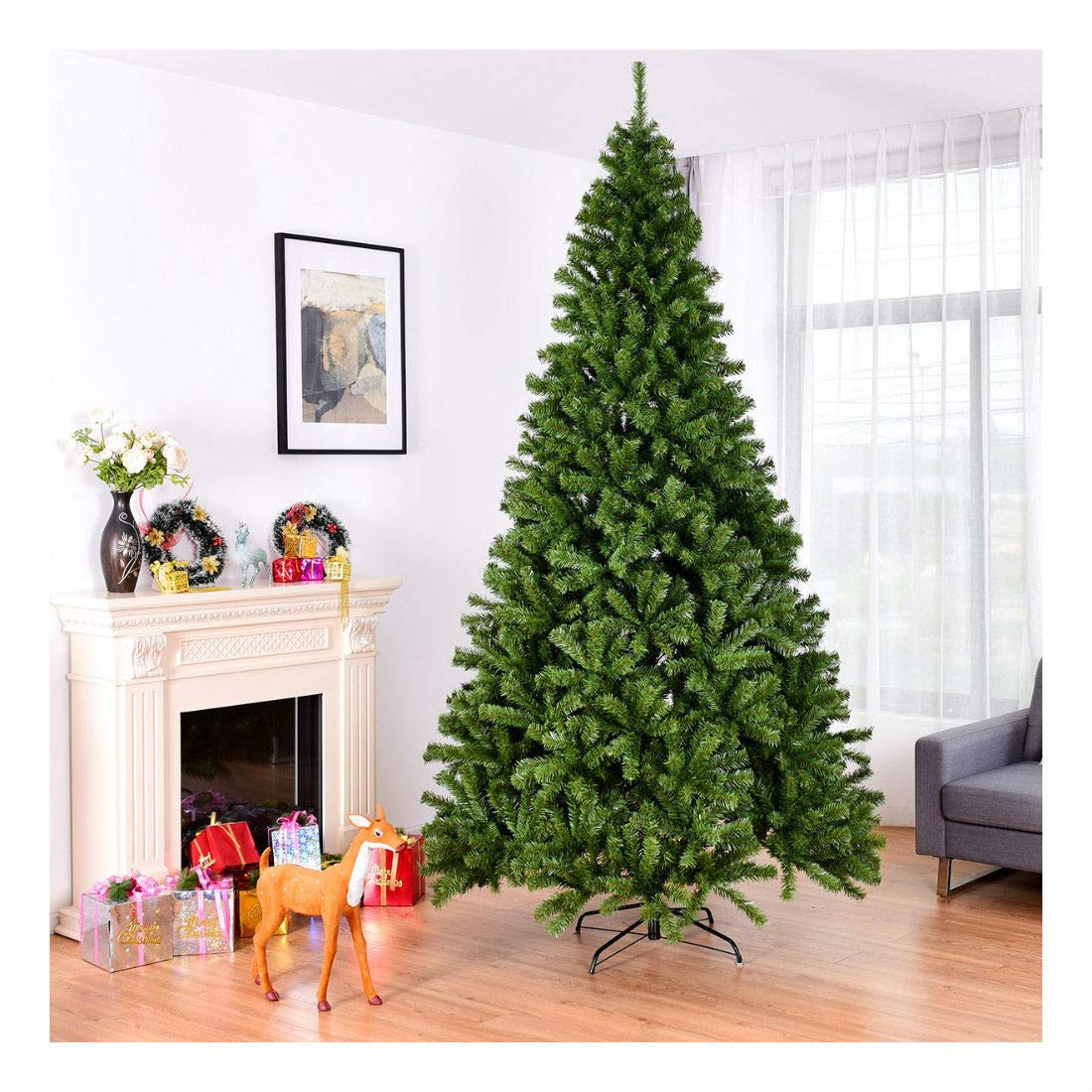 3b13b92739d0 Amazon.com  9FT PVC Artificial Christmas Tree 2132 Tips Premium Hinged w Solid  Metal Legs  Home   Kitchen
