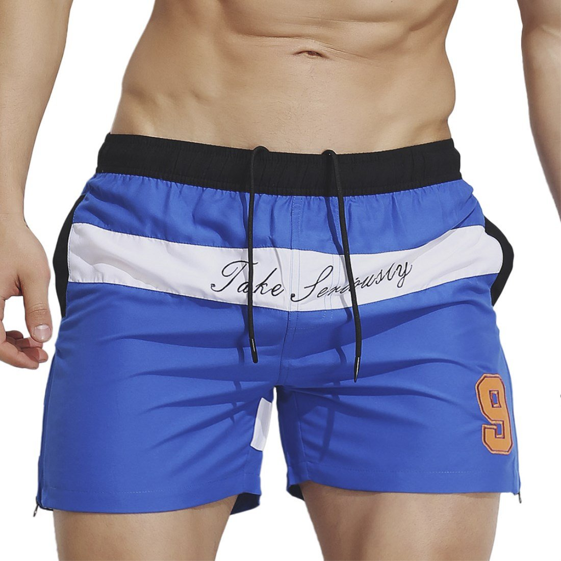 LJCCQ Mens Swim Trunks Broad Shorts Quick Dry Stripe Swim Shorts with Pockets Bathing Suits for Swimming Beach