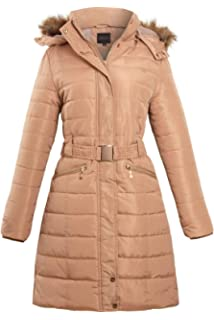 188ab1918dcd shelikes Womens Ladies Belted Faux Fur Hood Hooded Long Parka Jacket  Quilted Winter Coat