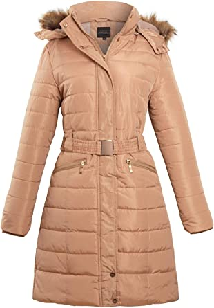 QUALITY BELTED QUILTED WOMENS PADDED GOLD ZIP JACKET COAT SIZE 8-14