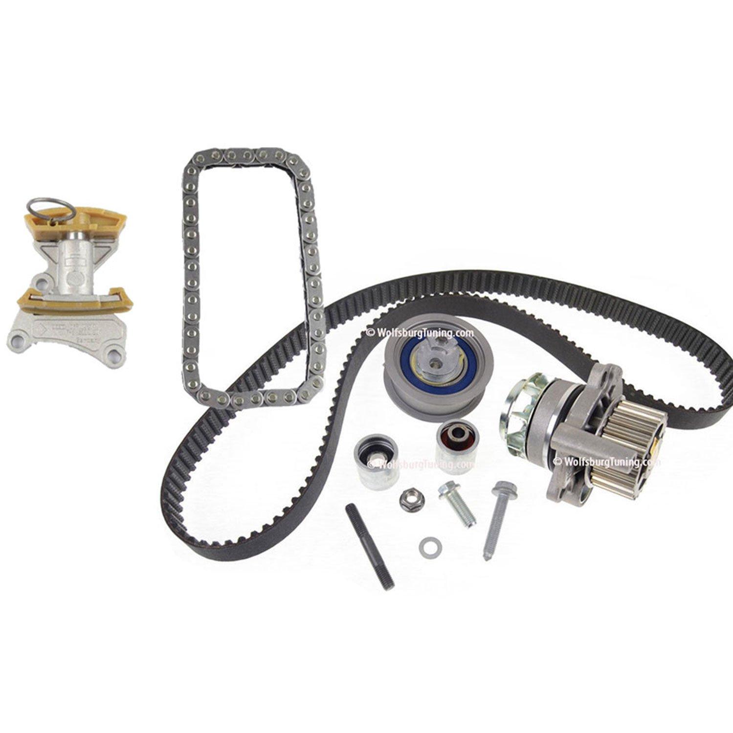 VW EOS, Golf GTI, Jetta y Audi A3 A4 TT Kit de Correa dentada bomba de agua cadena 2.0 T 2.0T BPY FSI 06 - 08: Amazon.es: Coche y moto