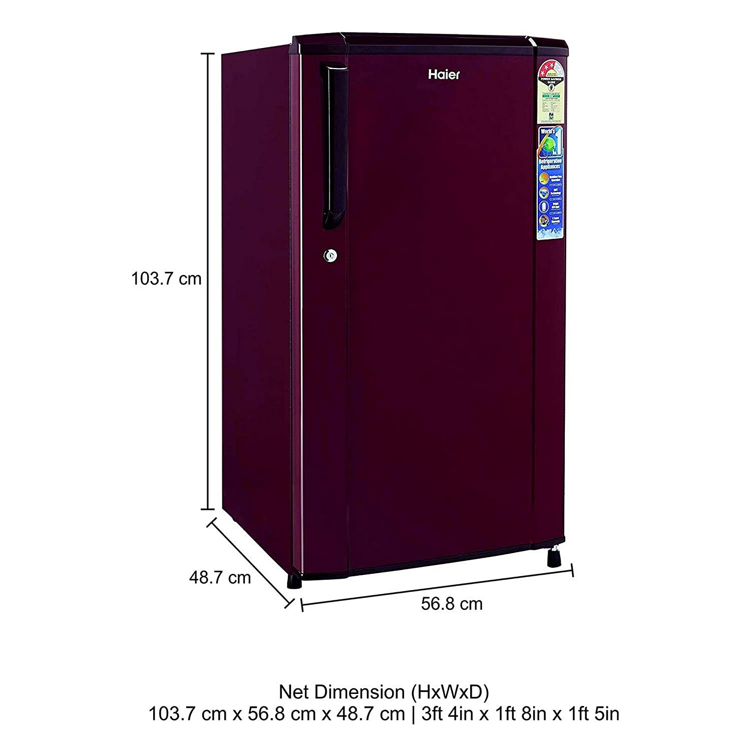 Haier 170 L 3 Star Direct Cool Single Door Refrigerator(HRD-1703SR-R/HRD-1703SR-E, on