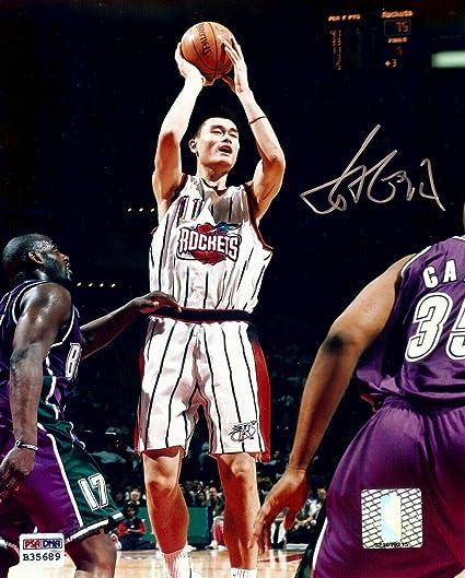 7050db8ec16fb Yao Ming Autographed Photo - 8X10 Shooting vs Kings B35689 - PSA/DNA ...