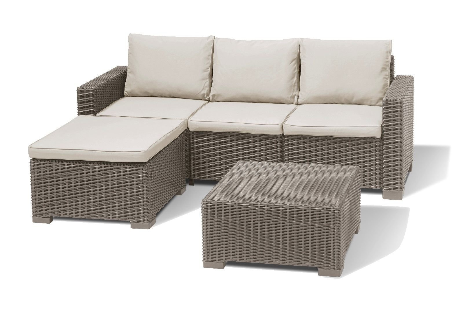 Allibert Keter California Rattan Corner Set Cappuccino 9-Seater Sofa With  Table & Free Delivery