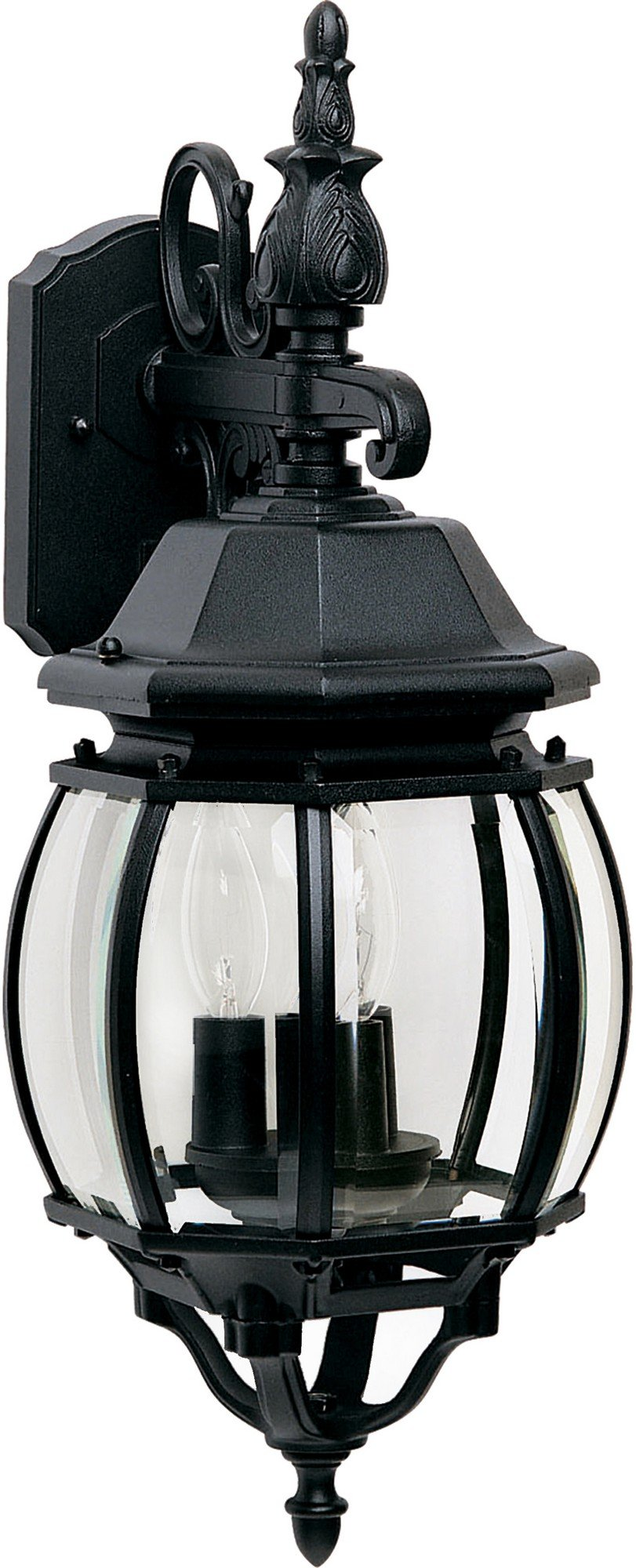 Maxim 1034BK Crown Hill 3-Light Outdoor Wall Lantern, Black Finish, Clear Glass, CA Incandescent Incandescent Bulb , 40W Max., Dry Safety Rating, Fabric Shade Material, Rated Lumens
