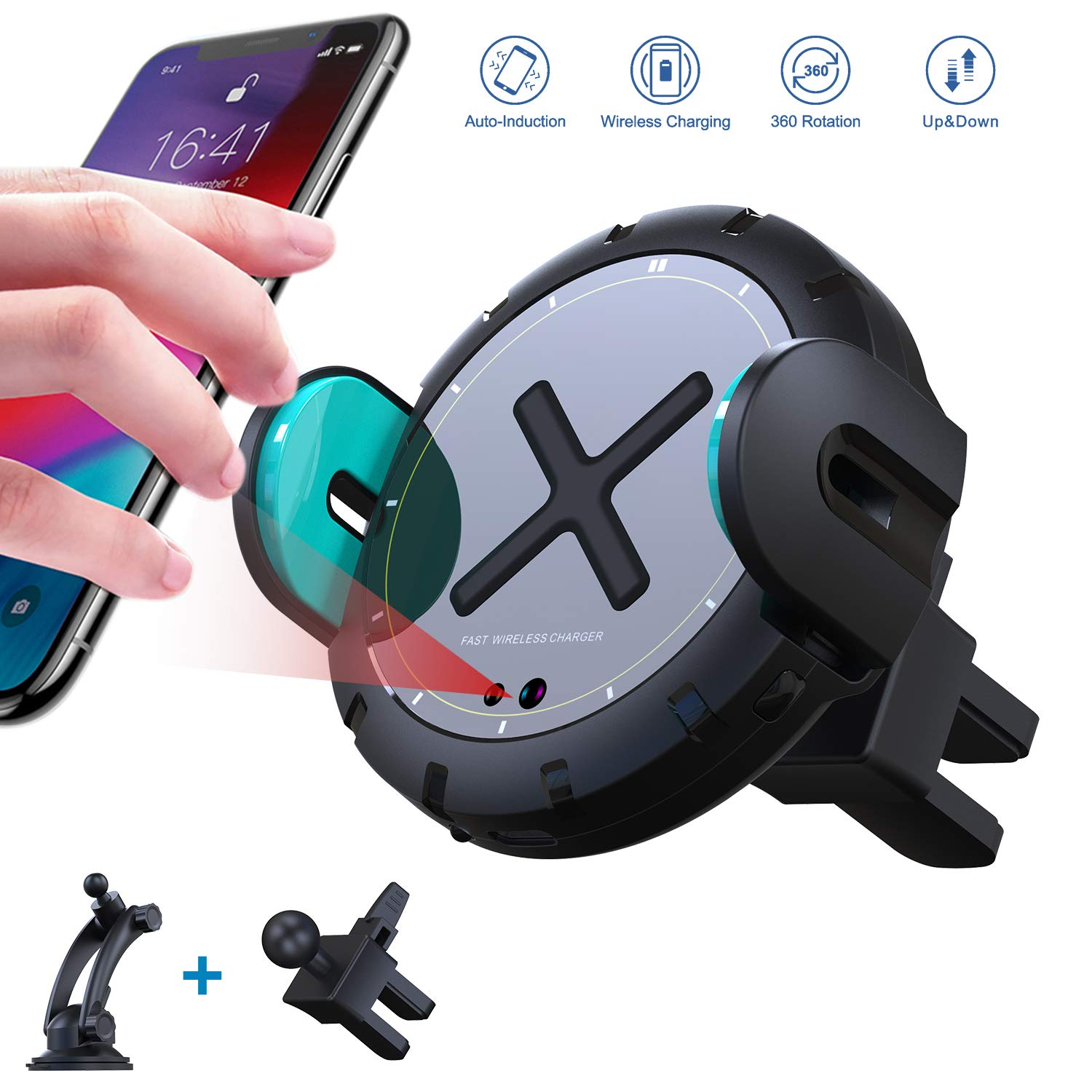 KOAKUMA Auto-Clamping QI Fast Charging Car Phone Mount 360 Rotating Dashboard Air Vent Phone Holder Compatible iPhone XS Max//XS//XR//X//8//8 Plus Wireless Car Charger Mount Samsung S10//S10+//S9//S9+//Note9