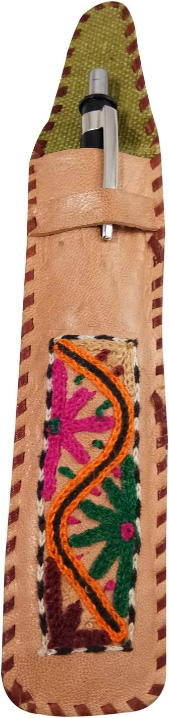 Authentic Goat Leather Carry Bags Handmade Ethnic Leather Embroidered Apple IPad Pencil Carry Pouch Case or Pen /& Pencil Storage /& Carry Case Pouch or Use for all type Gifting Purpose