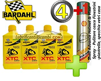 4 LT aceite motor moto 4t 10W40 BARDAHL BARDHAL XTC C60, 100% fibra hueca