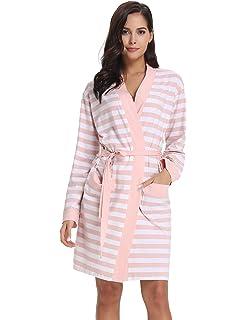 Aibrou Damen Bademantel Morgenmantel Kurz Kimono Baumwolle Gestreift Nachthemd Nachtw/äsche V Ausschnitt mit G/ürtel