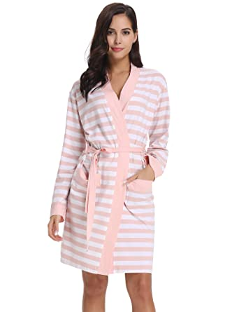 6f5ae41f83 Aibrou Womens Robes Long Style Dressing Gown Lightweight Bathrobes with  Oblique V-Neck for All