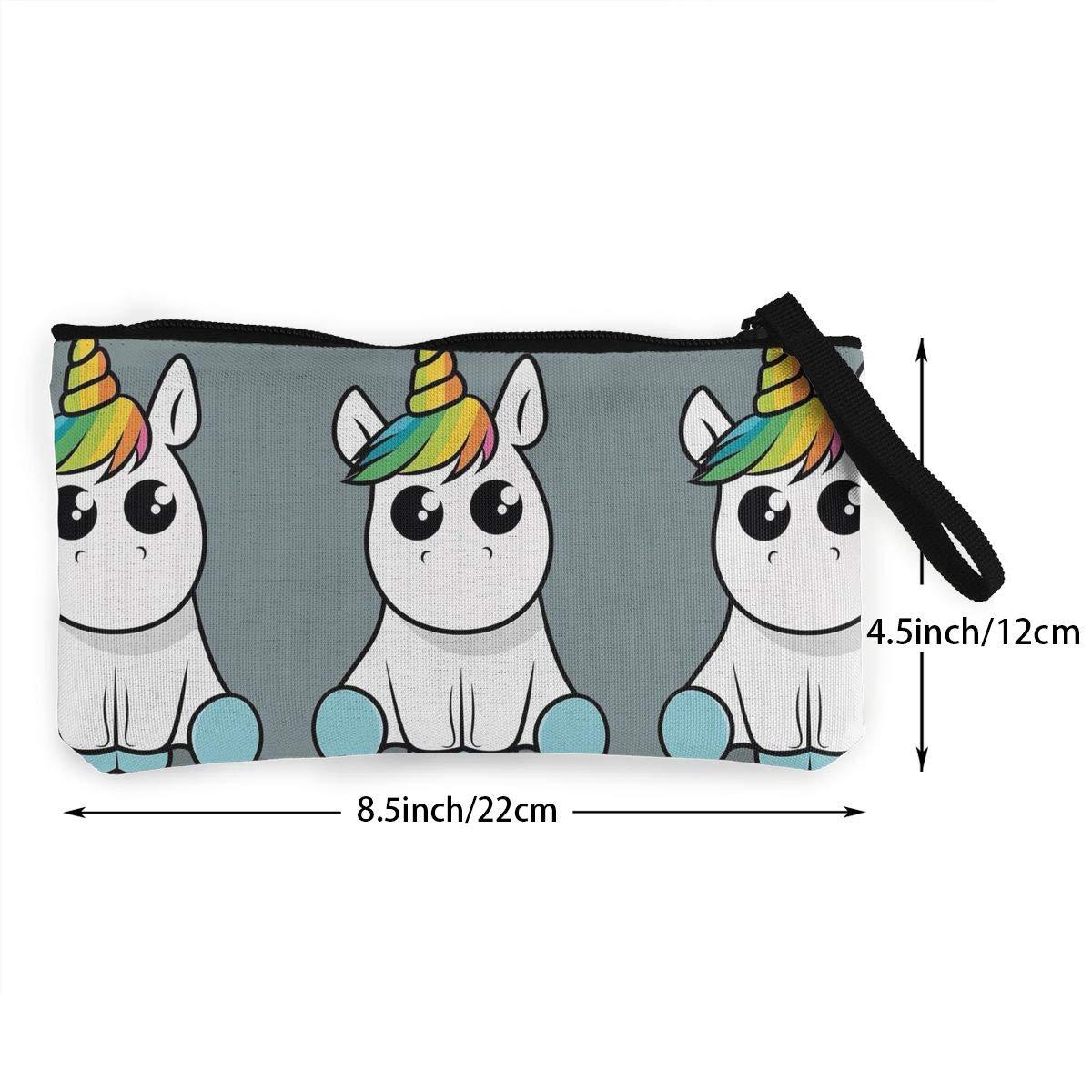 YUANSHAN Long Rainbow Horn Horse Unisex Canvas Coin Purse Change Cash Bag Zipper Small Purse Wallets with Handle