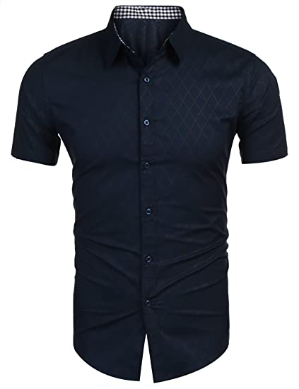 new product 215a1 7725e Burlady Hemd Herren Kurzarm Slim Fit Freizeit Hemden Diamant-Optik Kariert  Männer Shirt