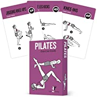 Pilates Exercise Cards, Set of 62 for Women and Men :: for Home, Gym or Studio :: 50 Mat Exercises, 12 Stretches, 6 Total Workout Routines for Beginner to Advanced :: X Large, Waterproof & Durable