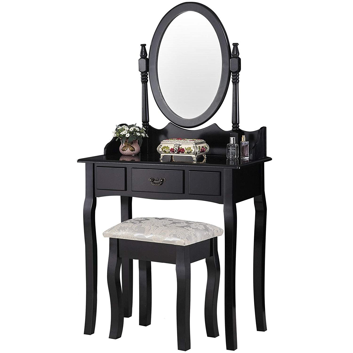 the best attitude f306a d4c7d mecor Black Dressing Table Set with Mirror and Stool Shabby Chic Vintage  Style Vanity Makeup and Dressing Table Desk