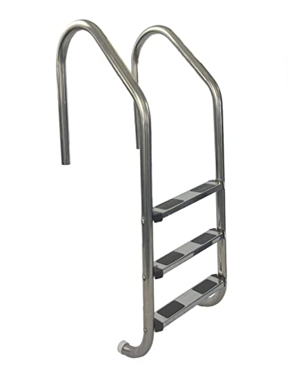 Aqua Select Three Tread Stainless Steel Pool Ladder | Entry and Exit System  for In-Ground Swimming Pools | 250 Pound Capacity | 1.90-Inch Outer ...