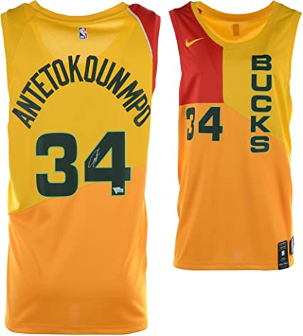 low priced ffd90 d1f53 Giannis Antetokounmpo Milwaukee Bucks Autographed Yellow ...