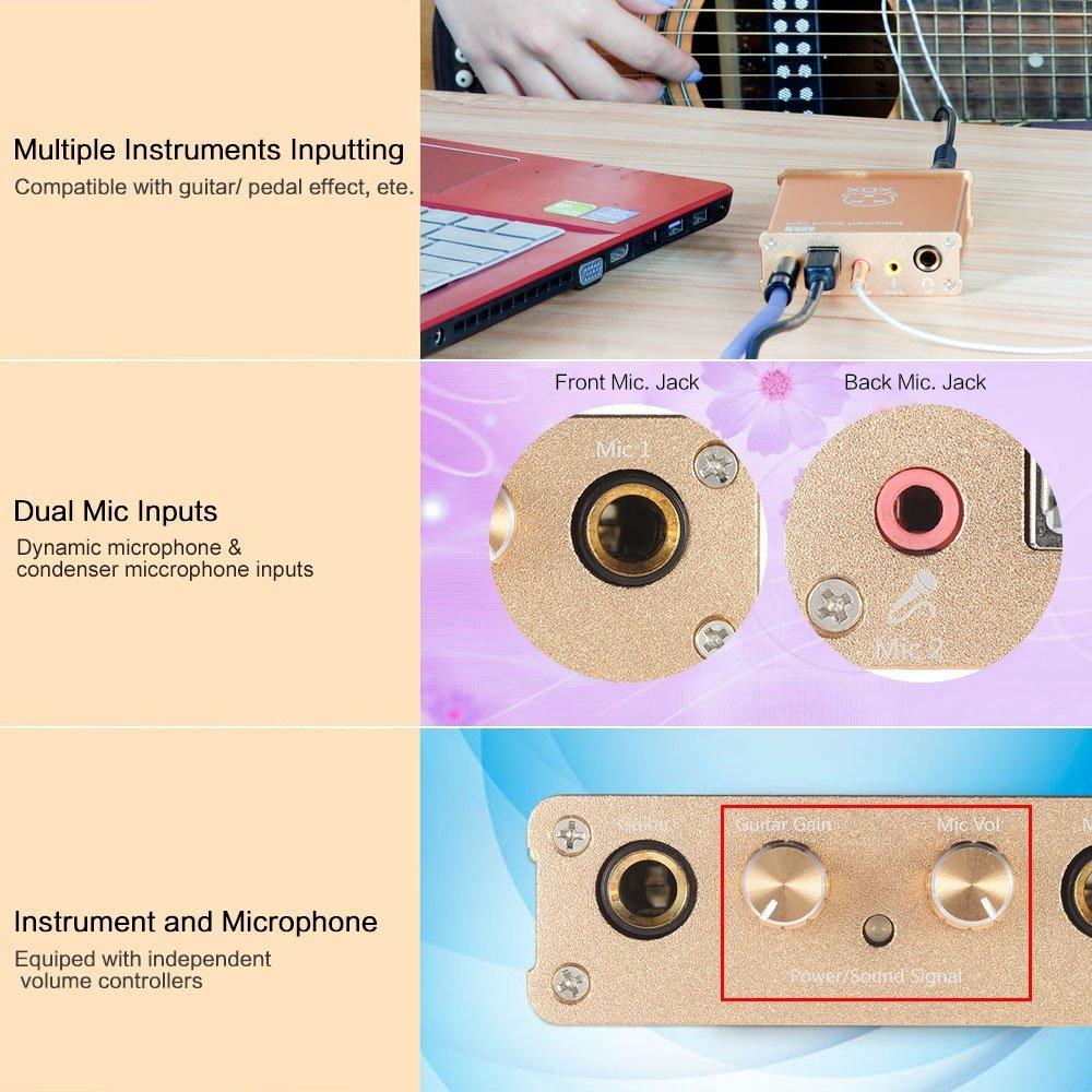 ammoon XOX G1 Tarjeta de Sonido de Instrumentos Compatible con Varios Instrumentos Tales como la Guitarra / Pedal Efecto Canto Línea de Dispositivos ...