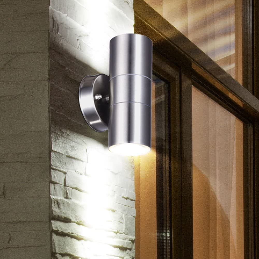 5er Set Außen Wand Strahler Glas Veranda Balkon Beleuchtungen Edelstahl Lampen