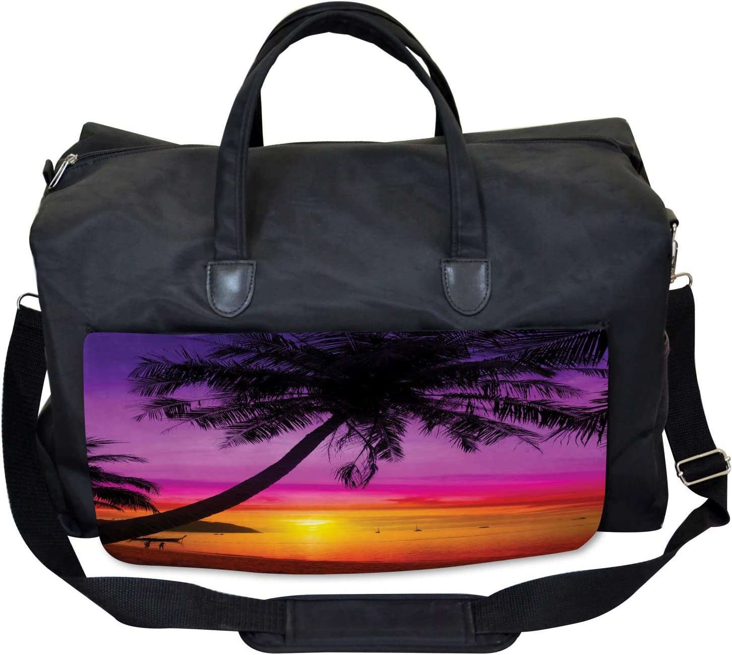 Palm Shadow at Sunset Large Weekender Carry-on Ambesonne Tropical Gym Bag
