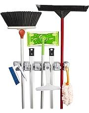 Broom Mop Holder KingTop Garage Storage Hooks Wall Mounted Organizer for Shelving Ideas 5 Position 6 Hooks [ Lifetime Warranty ]