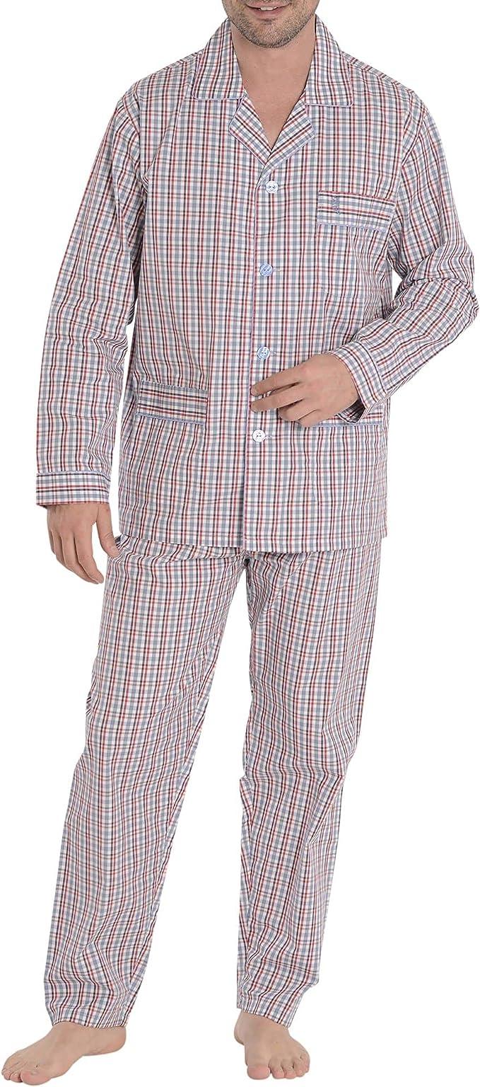 El Búho Nocturno - Pijama Hombre Largo Premium Solapa Fino Algodón o Bambú Pijama Entretiempo