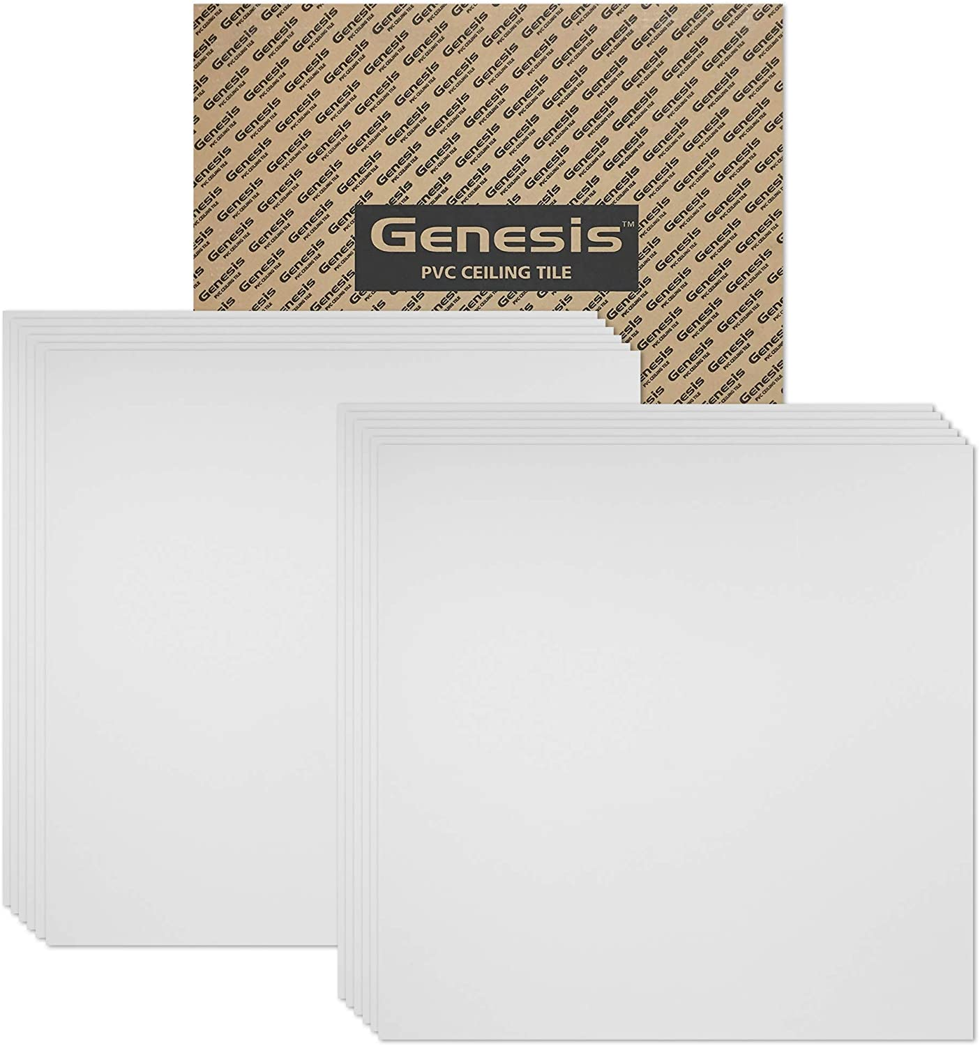 Amazon Com Genesis 2ft X 2ft Smooth Pro White Ceiling Tiles Easy Drop In Installation Waterproof Washable And Fire Rated High Grade Pvc To Prevent Breakage Package Of 12 Tiles Home