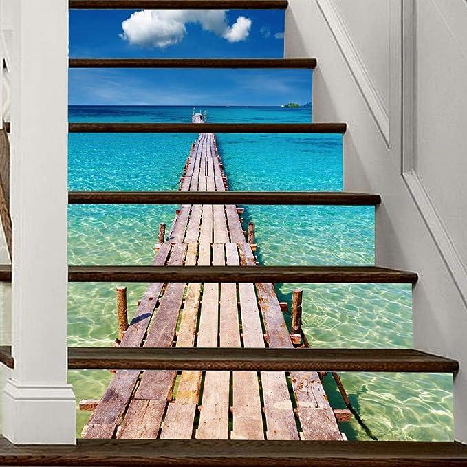 Cielo azul Nubes blancas Estilo de mar Escalera vertical Pegatinas Pared extraíble PVC Impermeable Murales Escaleras de vinilo Calcomanía Autoadhesiva DIY Decoración para el hogar 39.3