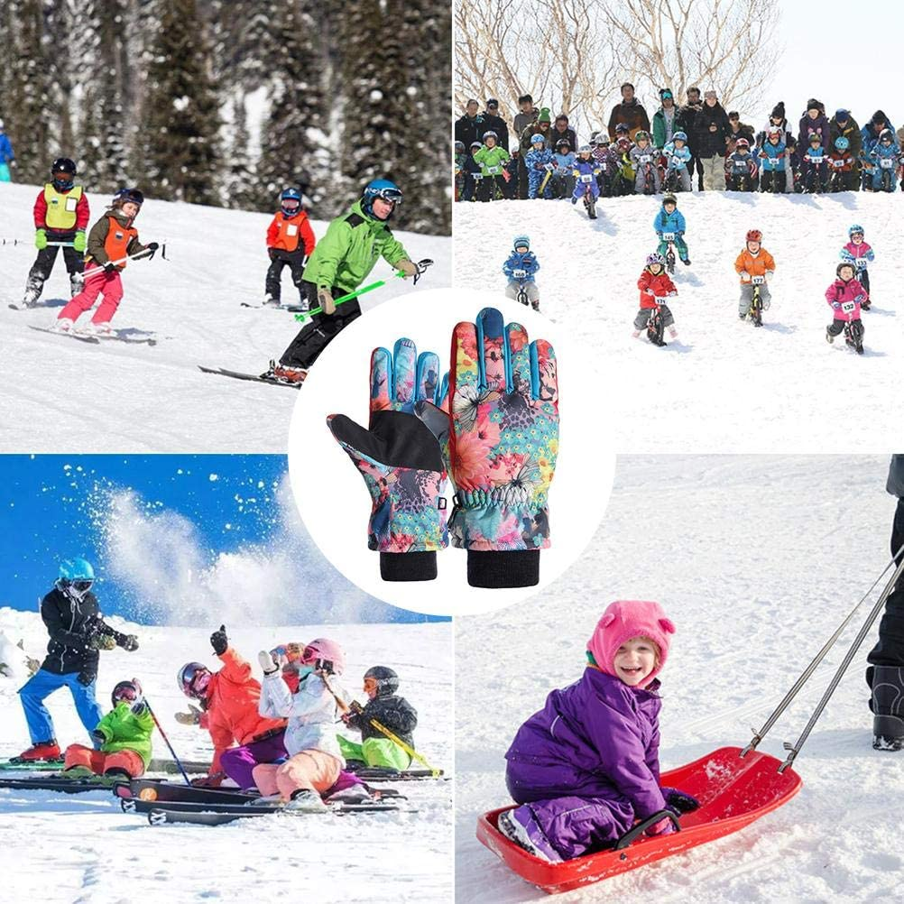 Creacom Kinder Winter Skihandschuhe Jungen Snowboard wasserdichte Thermohandschuhe Kinder Schneehandschuhe f/ür 4 bis 14 Jahre alt