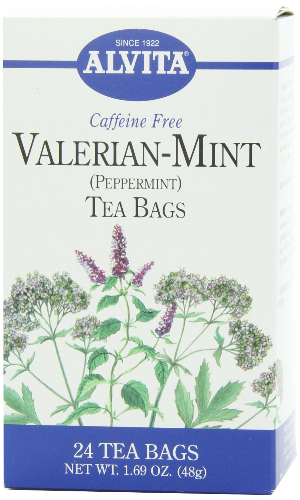 Alvita Herbal Teas, Valerian Mint (Peppermint), 24-Count Tea Bags (Pack of 6)