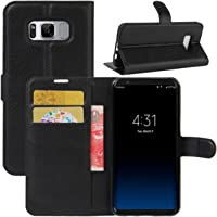 Kit Capa Carteira Couro Galaxy S8 5.8 Preta + Película Gel