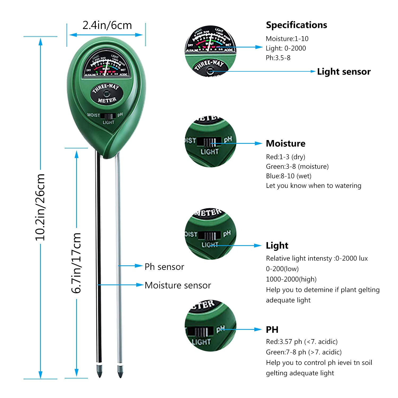 no Requiere bater/ía pH acidez probador de Suelo Apto para Todo Tipo de Plantas y Jardines//Granja Humedad Yaosmart Sensor de Humedad de Suelo PH Prueba 3 en 1 Planta Tierra probador con luz