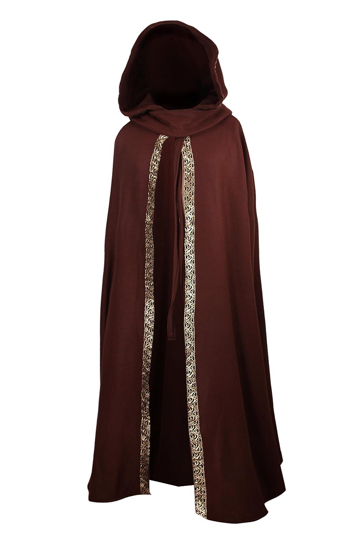 Kreativwunderwelt Mittelalterlicher Kapuzenumhang mit Borte - - - wärmend - braun - 130cm 337520