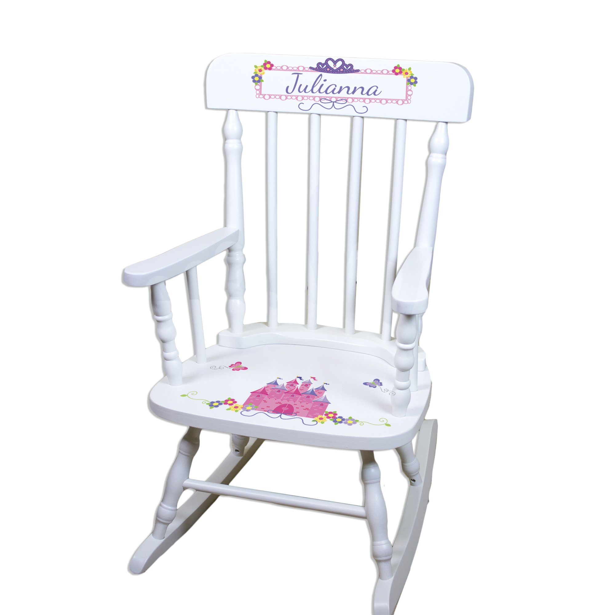 Children's Personalized White Princess Castle Rocking Chair