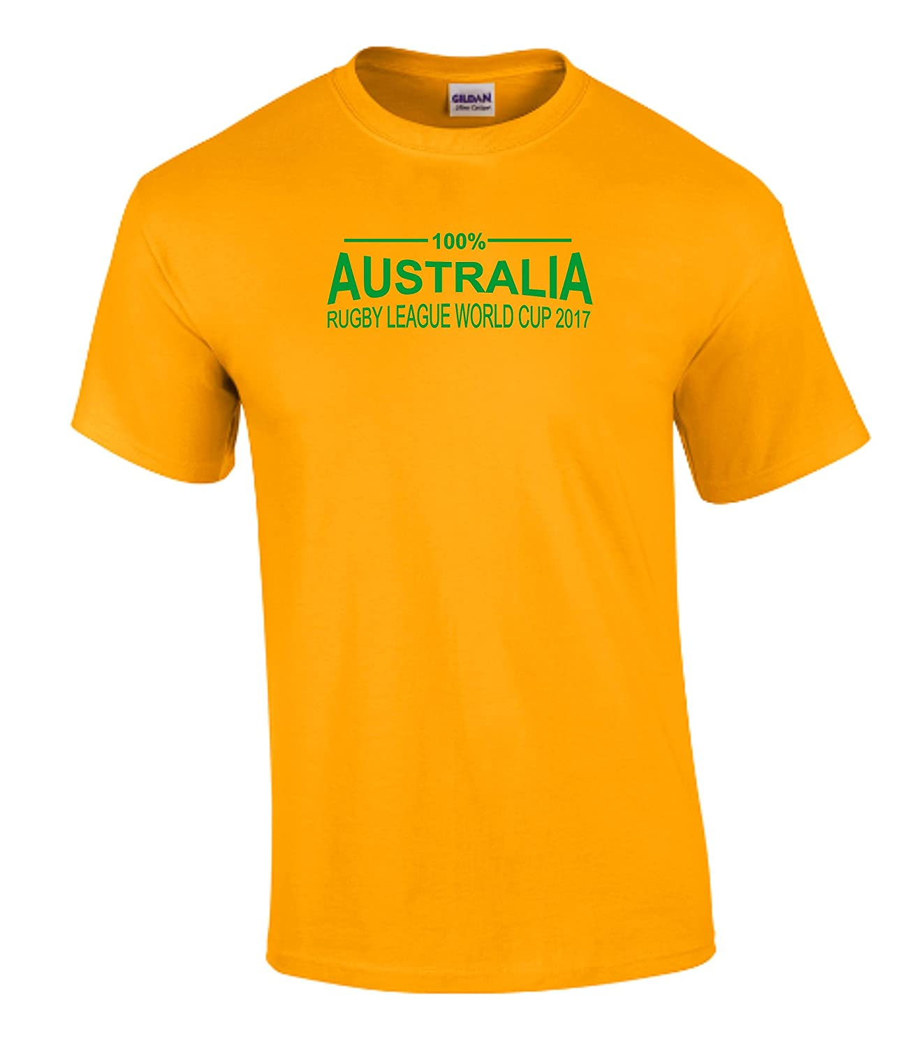 100% Australia Rugby League World Cup 2017 T-Shirt Mens Yellow