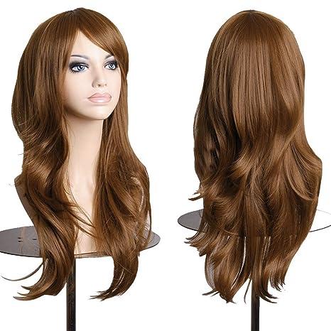 S-noilite - Peluca de pelo sintético ondulado de 58 cm de largo, para