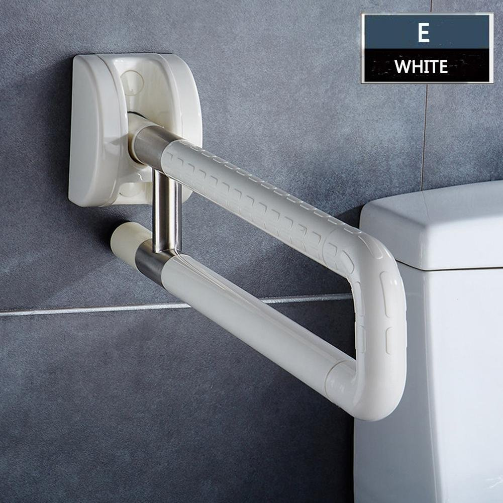 Bathroom Grab Bar Flip Up Toilet Safety Frame Rail Shower Handicap Bars Medicial Bathroom Aids Armrest (Stainless Steel covered with ABS) , C