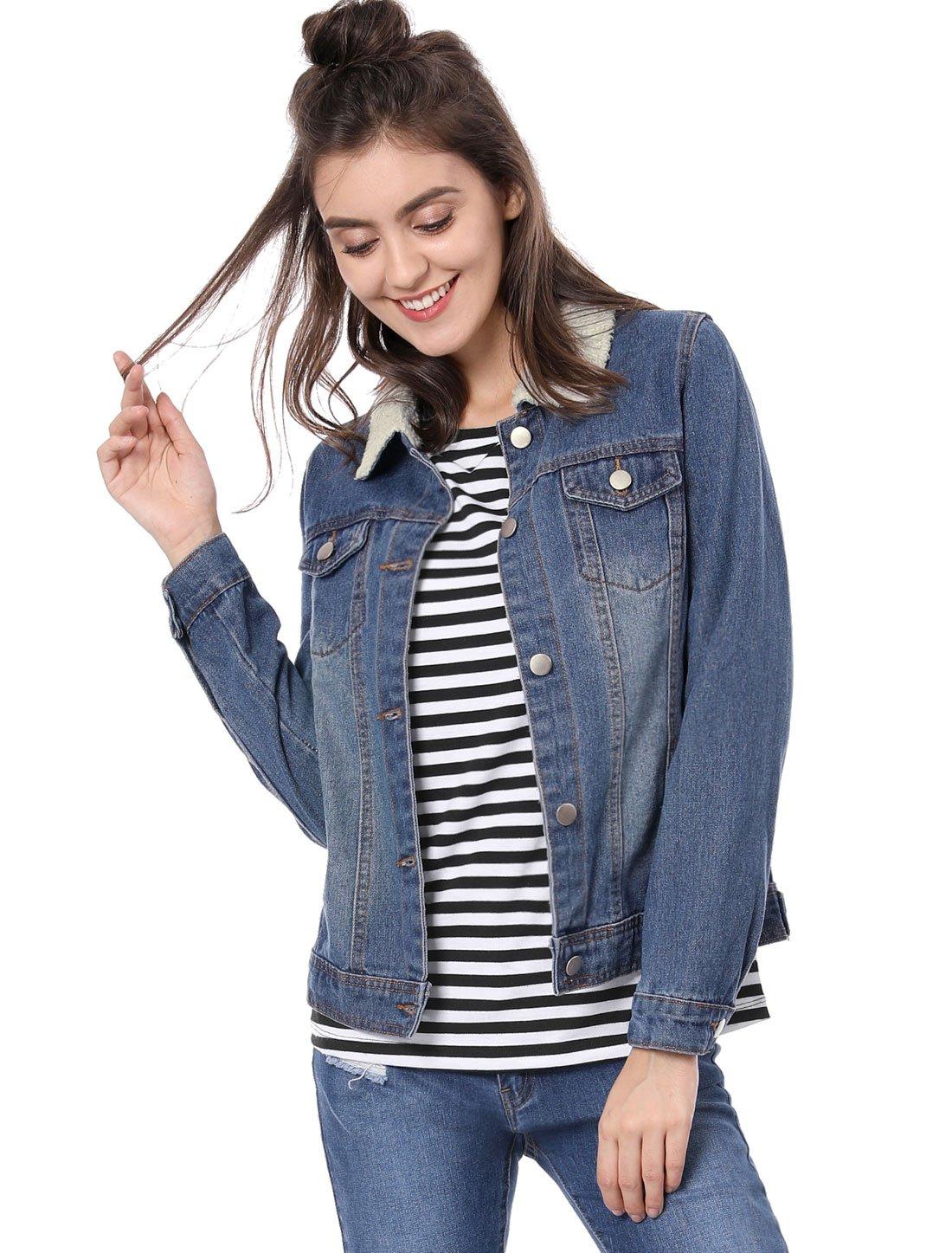 Allegra K Women's Imitated Shearling Collar Denim Jacket XS Blue