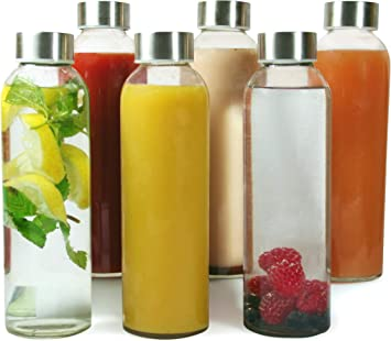 Wenburg Botellas de Vidrio 500 ml, 6 Piezas en Juego + Cepillo de Limpieza, cantimploras/Botellas de Cristal para Agua, zumos, té. Adecuado para Adultos, niños (sin Fundas Protectoras, 0,5 l): Amazon.es: Deportes